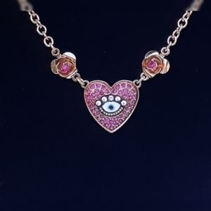 Betsy Johnson flower and heart necklace